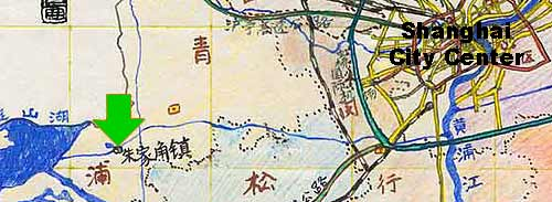 map with location of Zhujiajiao town