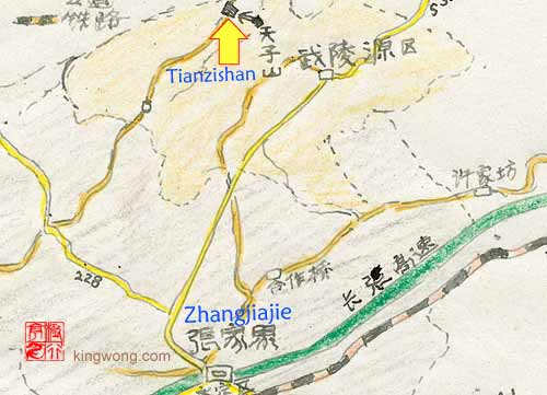 location map of Tianzishan Mountains